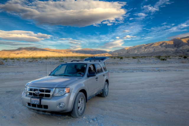 """Henry"" poses proudly after negotiating some rough sections of Fish Creek Wash in Anza Borrego Desert State Park.  Click on image to enlarge."