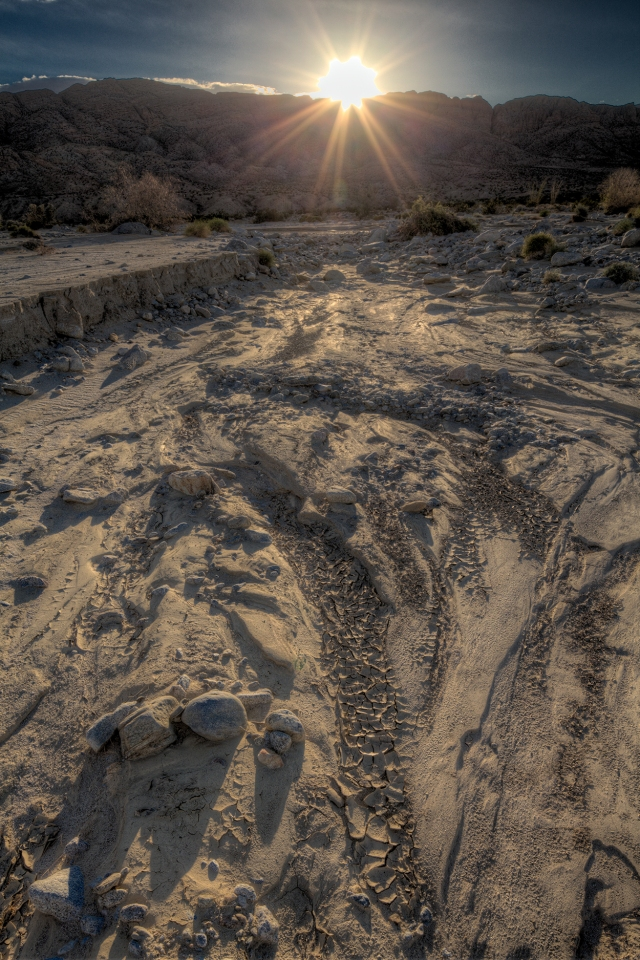 Sunset on Fish Creek Wash.  Click on image to enlarge.