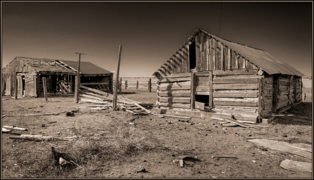 Old homestead cabin and barn.  Click on image to see an enlarged version.