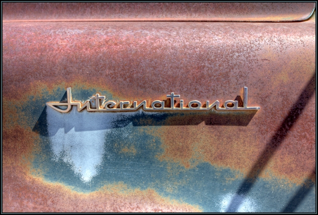 Emblem on old International Harvester truck hood.