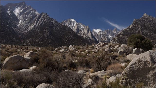 24 frame mosaic looking up the Lone Pine Creek canyon to Mt. Whitney.  Canon 5D Mk II w/ Hasselblad Zeiss 150mm F4 lens.  Click ont he photo to enlarge it.