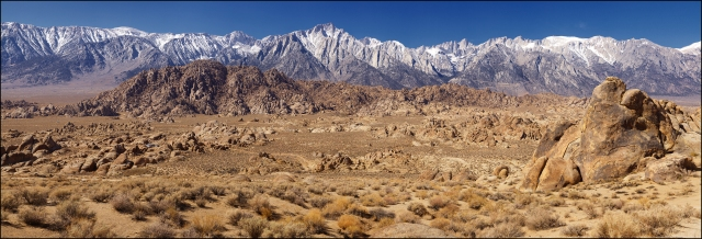 30 frame (10x3) mosaic of the Alabama Hills valley and the Sierras as a majestic backdrop.  Canon 5D Mk II with Hasselblad Zeiss 150mm f4 lens.