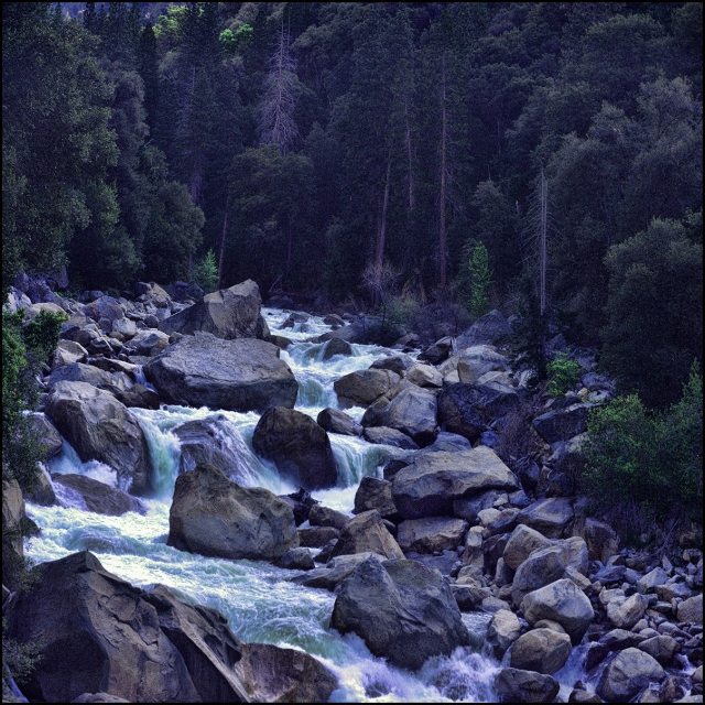 Rapids along the Merced River near the west entrance to Yosemite.  Taken as an internal mosaic with DSLR piggybacked on a 4x5 technical camera.