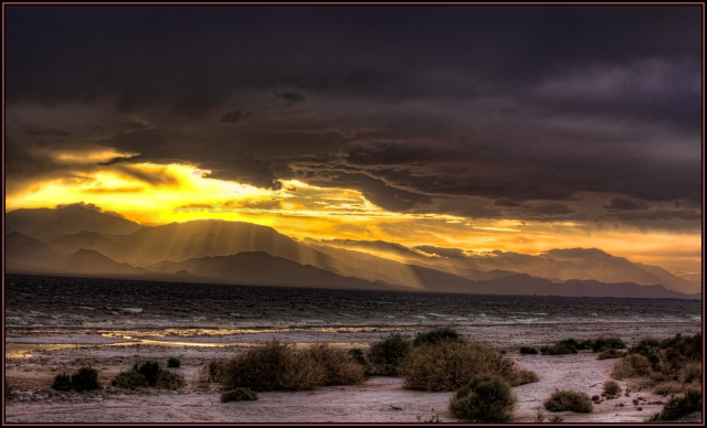 The dust and clouds and wind were in perfect harmony to create a spectacular sunset as seen from a picnic/campground on the eastern shore of the Salton Sea.