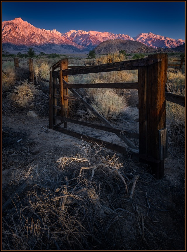 Sunrise over the abandoned corral along Tuttle Creek int he Alabama hills.