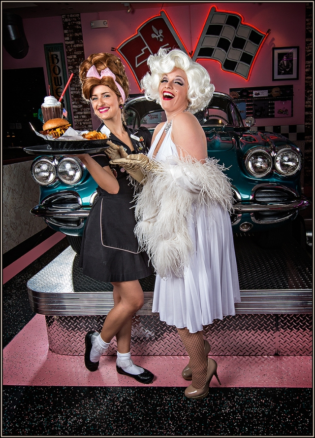 "Cover Shot for the Corvette Diner in San Diego at Liberty Station.  Both ""Marilyn"" and the waitress were absolute delights to work with!  Canon 5D Mk III and 50mm lens"