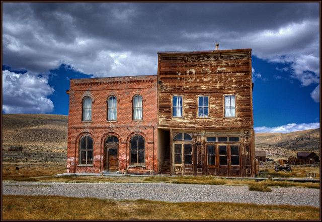 "The Bodie Pool Hall and ""Club"" next to what looked like a post office inside."