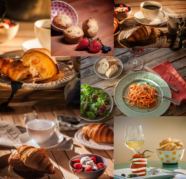 Here is a montage of shots taken during the Brooks Food Photography Workshops.  These images were taken of setups lit by Bill and styled by Claire.  All were taken free hand with Canon 5D Mk II and Canon 70-200 f4L lens.
