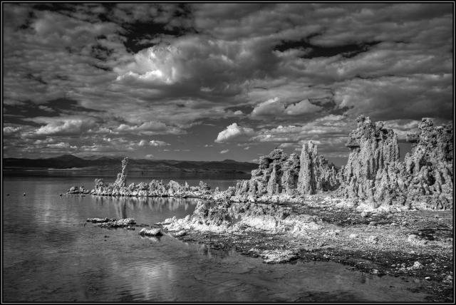 Black and White traditional styled shot of the tufa towers along the shore line of Mono Lake.