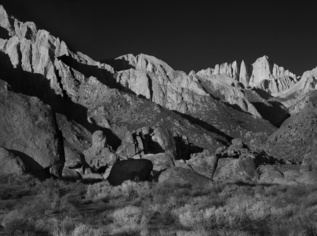 A Black and White shot of the early morning light on Mt. Whitney from Alabama Hills.  Shot with the Wista-mounted 5D Mk II and 270mm Schneider.