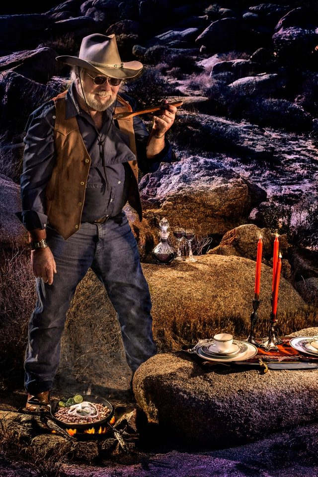 """Here is the final """"evening"""" campfire version.  The photograph was taken by and is Copyrighted by Cynthia Sinclair, my contribution is the editing... well and of course the masterful rendition of a trail worn old cowboy."""