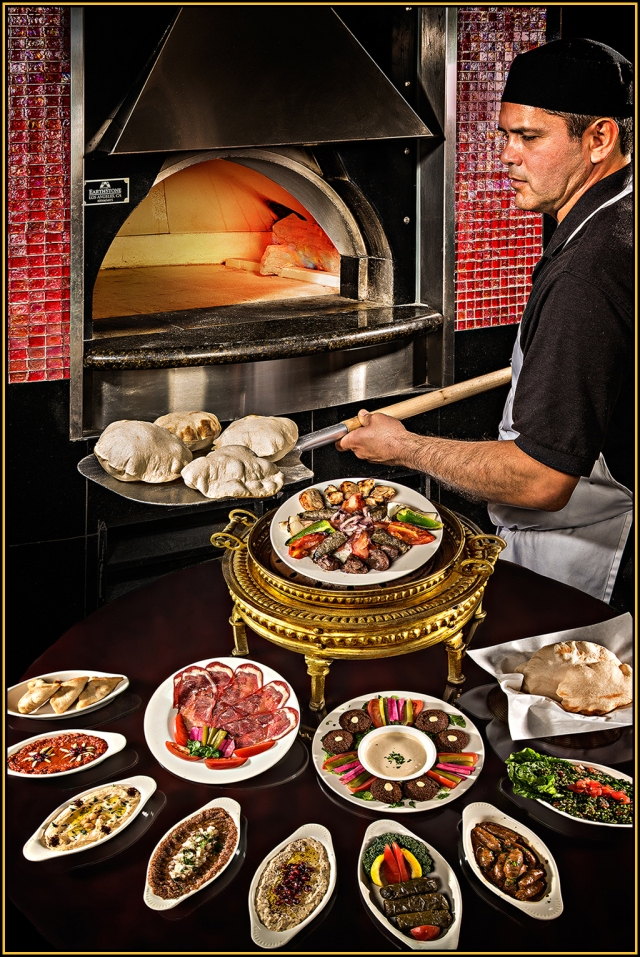 Composite cover shot using the bread being baked and the table spread.