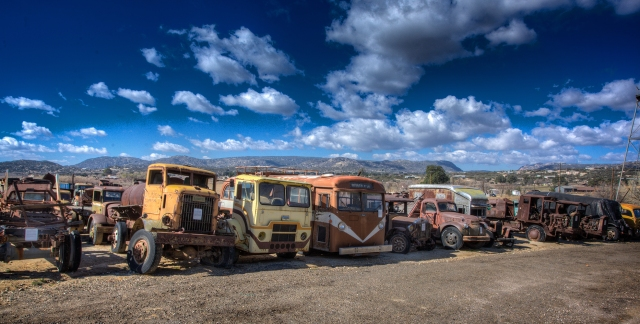 One of many rows of old vehicles in the Campo Transportation museum.