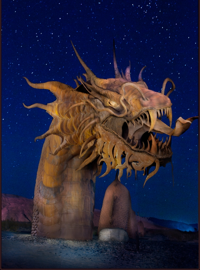 The Great Anza-Borrego Sea Serpent.  This shot combines HDR, Painting with Light, and night sky photo techniques.
