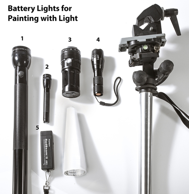 """Battery powered lights for """"painting with lights"""" photography."""