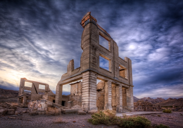 Remains of the Cook bank in Rhyolite, NV, a ghost town on the road from Death Valley to Beatty, NV.  These old ruins remind me of the Greek and Roman ruins of antiquity.