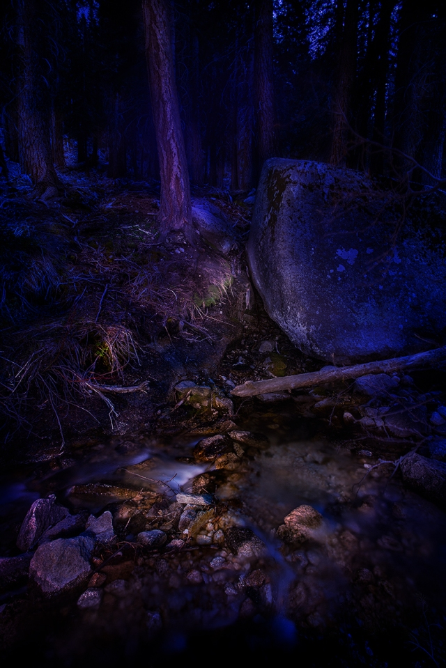 A tiny spring feeds into the creek flowing from the Whitney Portal waterfall.  Shot at night and painted with a MagLite.  25 frames layered and blended in Photoshop CC