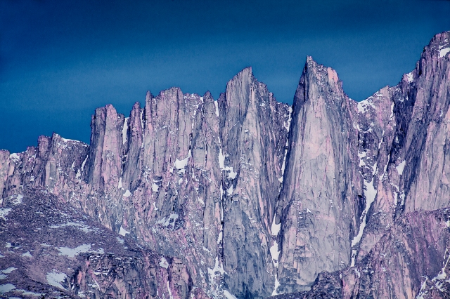 Very close detail of Mt. Whitney shot near dawn from down in the Alabama Hills with a Rokinon 600mm f8 lens.