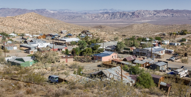 Overview of Randsburg and Main Street looking out over the high desert.