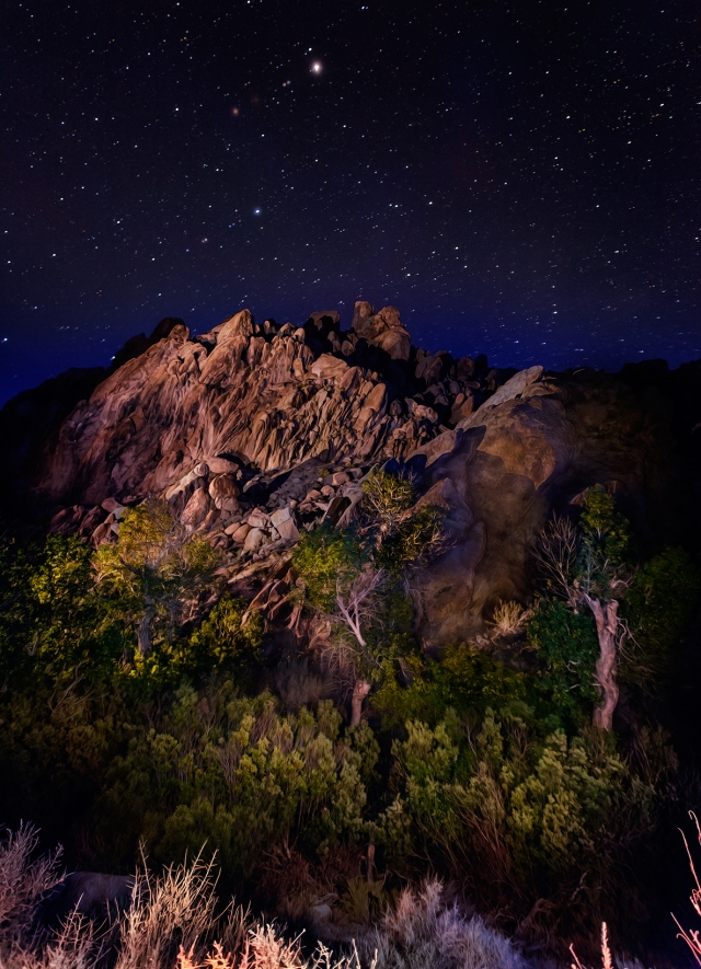Night-tme Painting With Light approach to the little canyon along Tuttle Creek in the Alabama Hills.