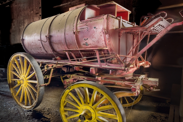 Final version of the water wagon shot.  Painting with Light approach using a Cree 11,000 lumen flashlight.  Canon 5D Mk II and 24mm f1.4 TS/E tilt-shift lens.  f22 at 8 seconds each for approximately 30 shots.