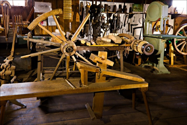 Final version of the wheelwright station at the blacksmith barn of the museum.  24 frames with 7-Cree LED flashlight.