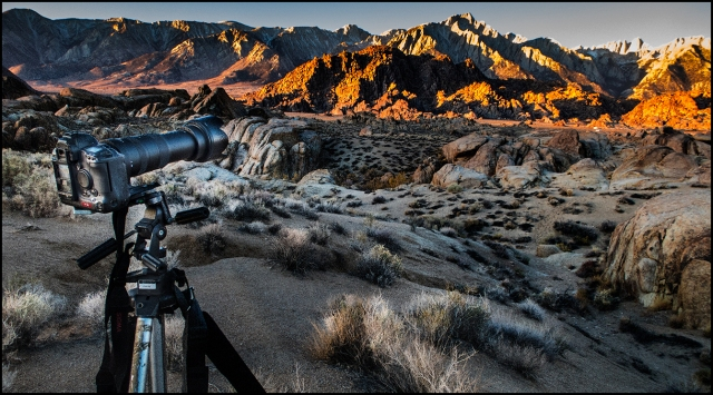The big Sigma 50-500mm F4.5 mounted on the Canon 1Ds MkII looking out over the Alabama Hills.  Shot with Canon 120S.