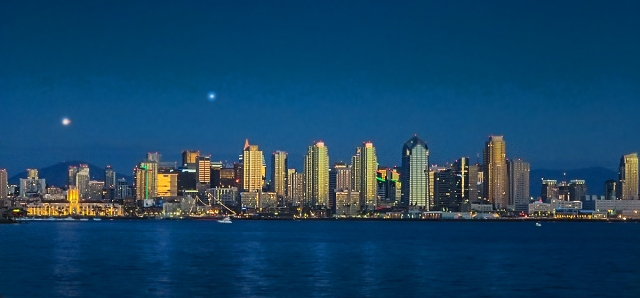 San Diego Skyline, sunset, Christmas 2014.  Canon @120 P&S