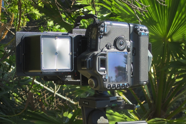 Here is the RhinoCam from the back showing the ground glass for focusing which is slid out of the wat for the camera in this shot.  In the bright sun you need a focusing dark cloth to see it well.