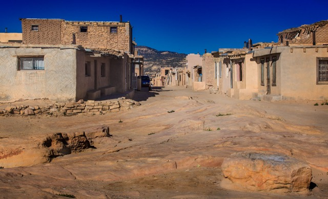 Street and plaza in Acoma where inhabitants gather, work, and socialize.
