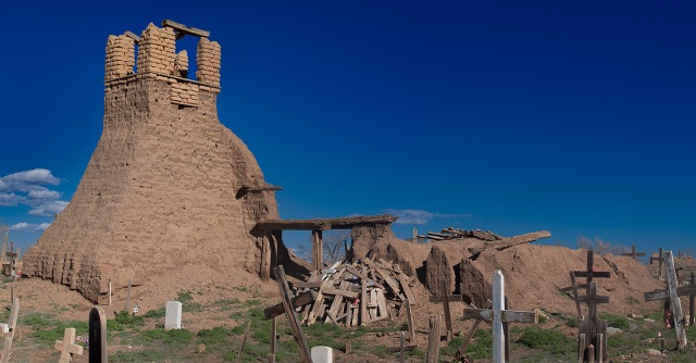 Old mission and cemetary at Taos Pueblo now melting back into the earth.  Canon 5D Mk II.  Click to enlarge.