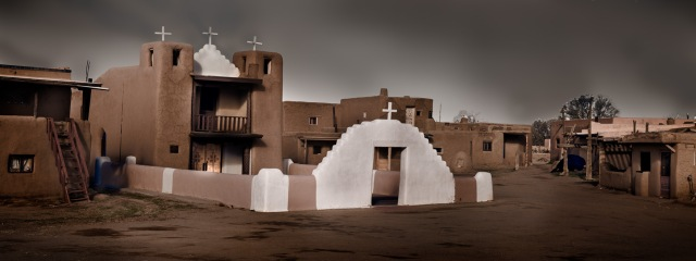 The mission church in the Taos Pueblo, New Mexico. Canon 5D Mk II.  Click to enlarge.