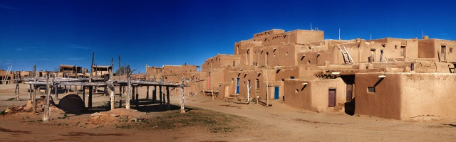 Morning light on the north side apartments in the Taos Pueblo, Taos, NM.  Canon 5D MkII