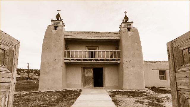 Mission San Jose de Gracia in Trampas as seen through the front gate.