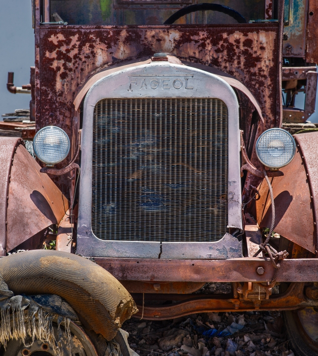 Grill and front of old 1920s vintage Fageol Truck at the Campo, CA Transportation Museum.  Shot with Canon 5D SR mounted on Rhinocam adapter for a 6-shot mosaic using a Hasselblad-Zeiss 180mm lens.  Do click on this image to see some serious detail and texture.