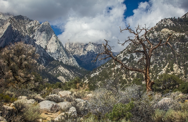 Storm drops over Mt. Whitney and down the Whitney Portal Canyon in the Sierras of California near alabama Hills and Lone Pine