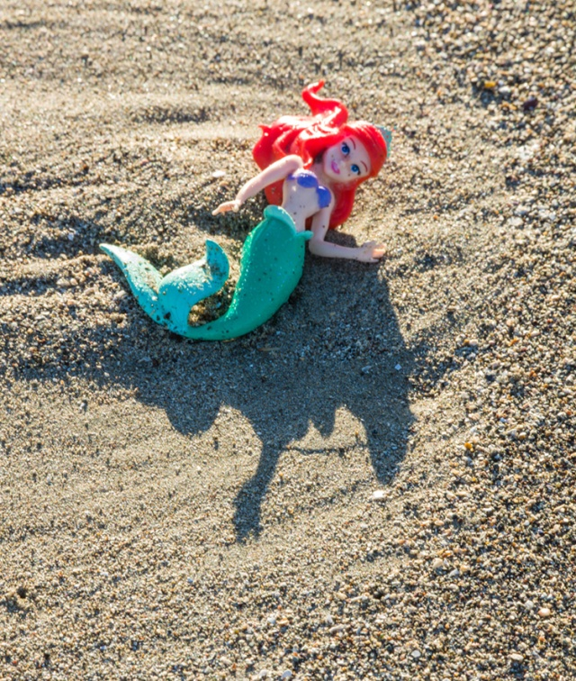 Little mermaid left by some child playing on the beach