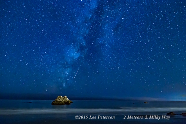 © Lee Peterson, used with permission. A beautiful capture of the Milly wayand two of the Perseid meteors