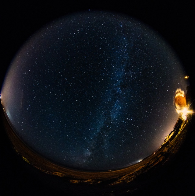 Fisheye shot of Milkyway over Cayucos Beach