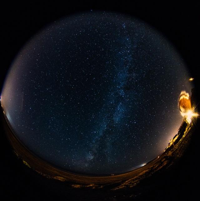Fisheye shot of Milkyway over Cayucos Beach