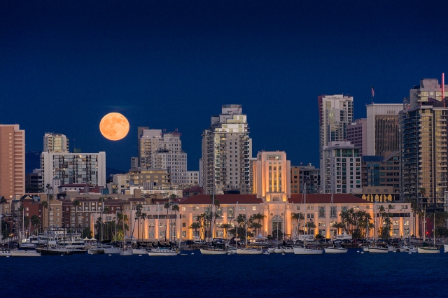 Supermoon rising over the San Diego City Hall.