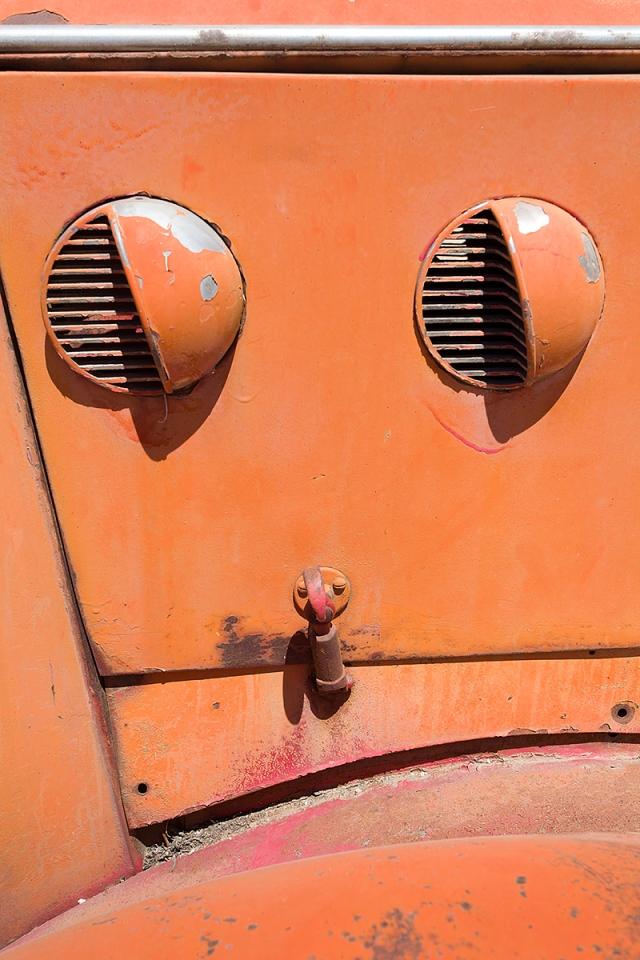 Louvers on old truck hood in Kern County Oil Field Museum.