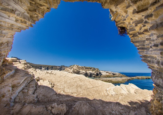 View from mouth of Sea Cave at Montana de Oro inlet, near Los osos, CA