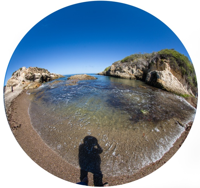 180 degree fisheye of the inet at Montana de Oro with my own shadow