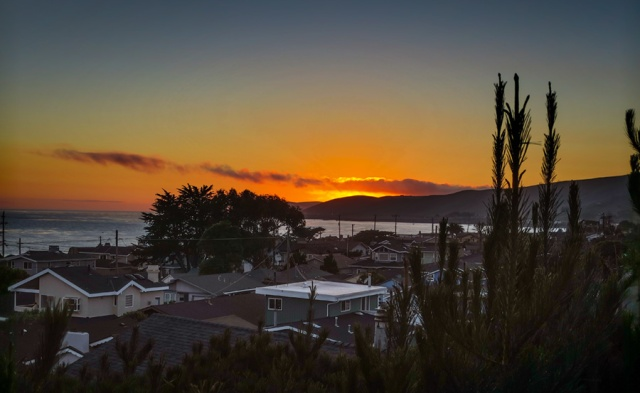 Sunset over Cayucos bay from Lee's house
