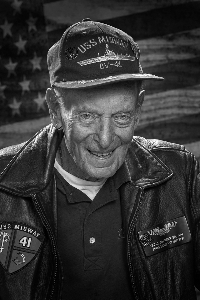 WWII veteran James Reid Sr. He was a B-24 bombadier who was shot down and captured spending the end of the war in a German POW camp. Shot with Canon 5DSr and Canon 85mm f1.8 lens.