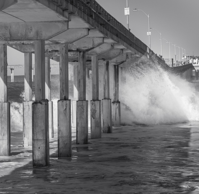Another tighter shot of the water as it is quezzed under the pier.