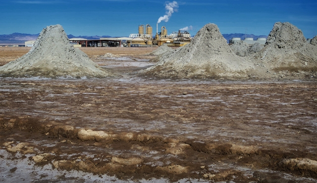 Mud volcanoes and power plant