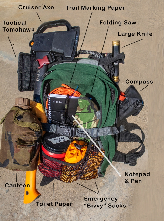 Survival Backpack outside